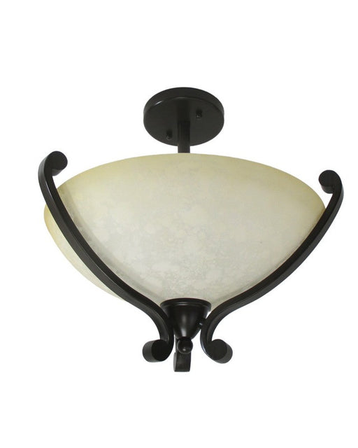 Epiphany Lighting 104082 ORB Semi Flush Ceiling Mount in Oil Rubbed Bronze Finish with Truscan Scavo Glass