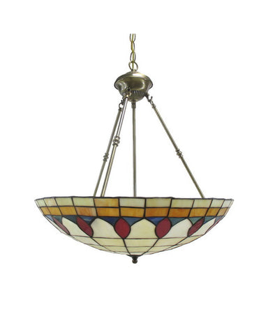 Trans Globe Lighting 1393 AB Three Light Tiffany Style Leaded Glass Hanging Pendant in Antique Brass Finish - Quality Discount Lighting