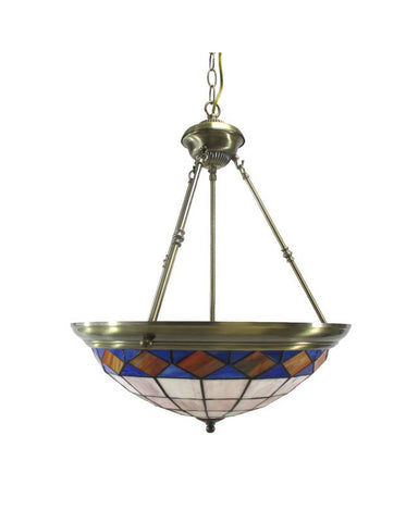 Trans Globe Lighting 1382 AB Three Light Tiffany Style Leaded Glass Hanging Pendant Chandelier in Antique Brass Finish - Quality Discount Lighting