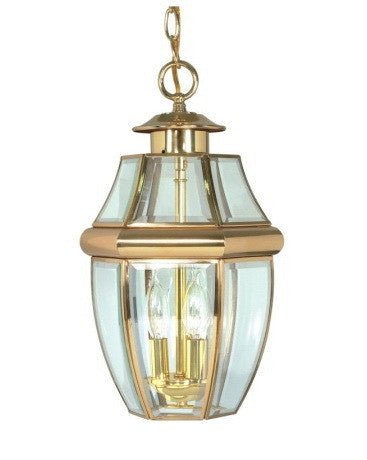 Nuvo Lighting 60-778 La Cage de Verre Collection Exterior Outdoor Hanging Lantern in Polished Brass Finish - Quality Discount Lighting