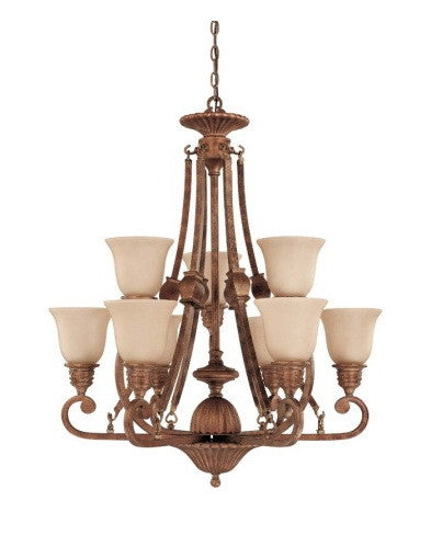 Nuvo Lighting 60-1603 Belvedere Collection 9 Light Chandelier in Crackled Bullion Finish - Quality Discount Lighting