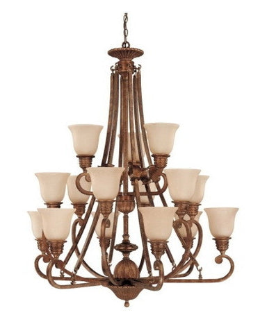 Nuvo Lighting 60-1604 Belvedere Collection 15 Light Chandelier in Crackled Bullion Finish - Quality Discount Lighting