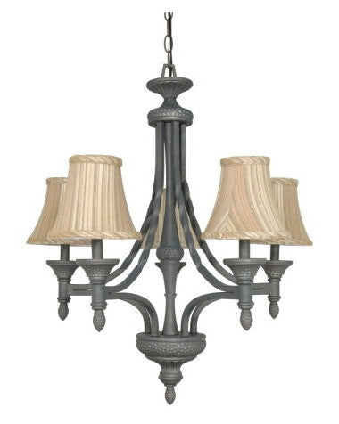 Nuvo Lighting 60-1051 Nottingham Collection 5 Light Chandelier in Purnice Stone Finish - Quality Discount Lighting