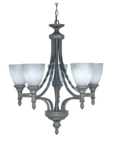 Nuvo Lighting 60-1053 Nottingham Collection 5 Light Chandelier in Purnice Stone Finish - Quality Discount Lighting
