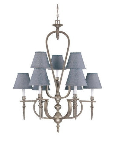 Nuvo Lighting 60-1463 Coventry Collection 9 Light Chandelier in Classic Pewter Finish - Quality Discount Lighting