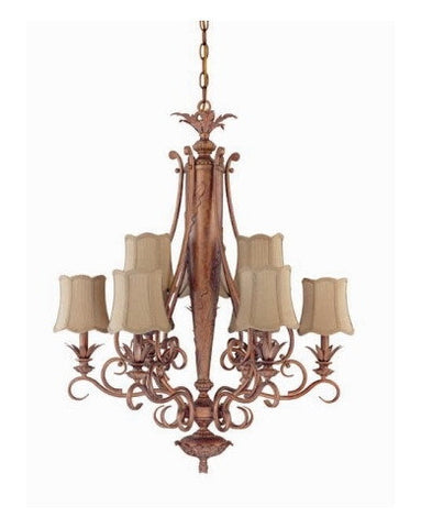 Nuvo Lighting 60-1483 Island Clay Collection 9 Light Chandelier in Coral Reef Finish - Quality Discount Lighting