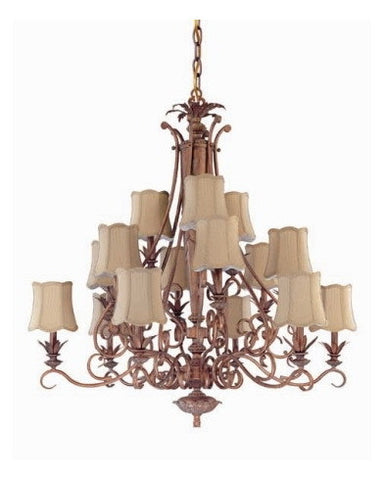 Nuvo Lighting 60-1484 Island Clay Collection 15 Light Chandelier in Coral Reef Finish