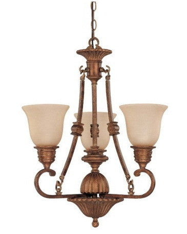 Nuvo Lighting 60-1601 Belvedere Collection 3 Light Chandelier in Crackled Bullion Finish - Quality Discount Lighting