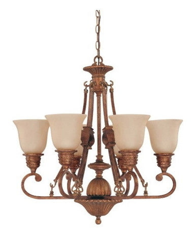 Nuvo Lighting 60-1602 Belvedere Collection 6 Light Chandelier in Crackled Bullion Finish - Quality Discount Lighting