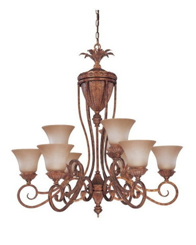 Nuvo Lighting 60-1543 San Remo Collection 9 Light Chandelier in Mayan Gold Finish - Quality Discount Lighting