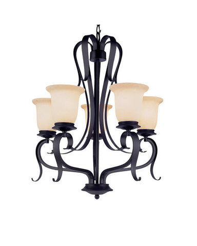Trans Globe Lighting 3995 BK Five Light Chandelier in Black Finish
