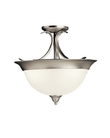 Kichler Lighting 10823 NIA Dover Collection One Light Energy Efficient Circline Fluorescent Ceiling Semi Flush in Brushed Nickel Finish - Quality Discount Lighting