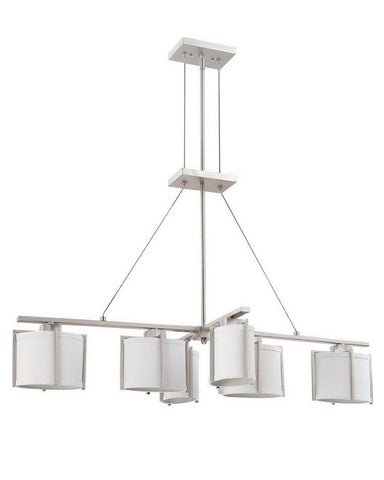 Nuvo Lighting 60-4351 Portia Collection Six Light Energy Star Efficient Fluorescent GU24 Island Chandelier in Brushed Nickel Finish - Quality Discount Lighting