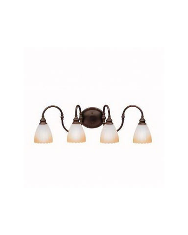 Kichler Lighting 10644 OZ Flowers Collection Four Light Energy Efficient Fluorescent Bath Vanity Wall Light in Olde Bronze Finish - Quality Discount Lighting
