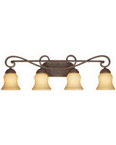 Designers Fountain Lighting 81004 AO Four Light Bath Vanity Wall Mount in Ancient Oak Finish - Quality Discount Lighting