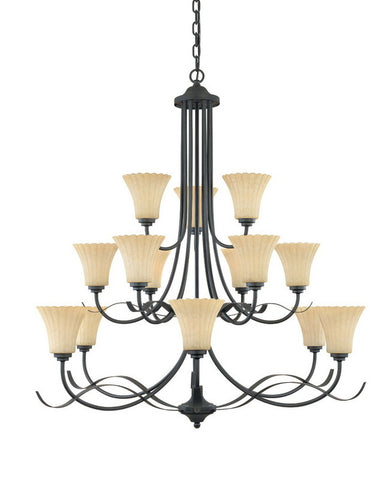 Designers Fountain Lighting 825815 BNB Fifteen Light Chandelier in Burnished Bronze Finish - Quality Discount Lighting