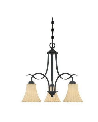 Designers Fountain Lighting 82583 BNB Ikebana Collection Three Light Hanging Chandelier in Burnished Bronze Finish - Quality Discount Lighting
