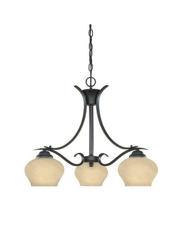 Designers Fountain Lighting 82083 BNB Moon Shadow Collection Three Light Hanging Chandelier in Burnished Bronze Finish - Quality Discount Lighting