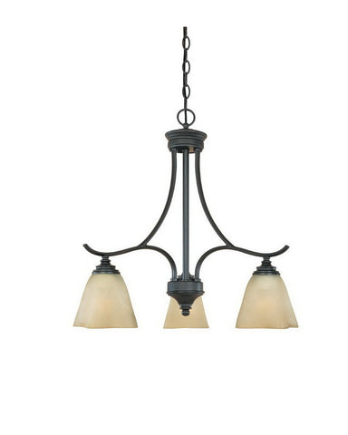 Designers Fountain Lighting 81983 BNB Bella Vista Collection Three Light Hanging Chandelier in Burnished Bronze Finish - Quality Discount Lighting