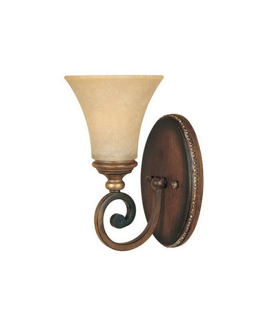 Designers Fountain Lighting 81501 BWG Montreaux Collection One Light Wall Sconce in Burnt Walnut with Gold Accents Finish - Quality Discount Lighting