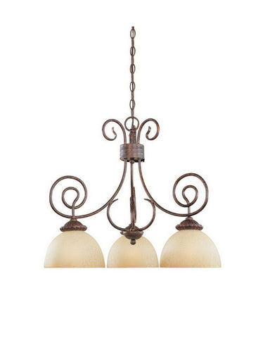 Designers Fountain Lighting 99384 AUB Belaire Collection Three Light Hanging Chandelier in Aged Umber Bronze Finish - Quality Discount Lighting