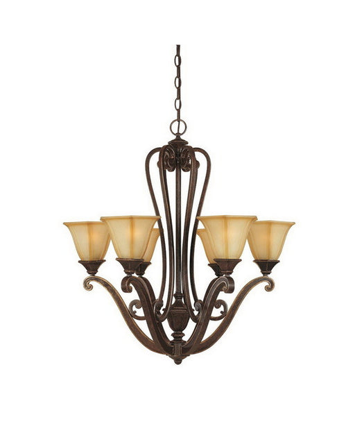 Designers Fountain Lighting 81186 IW Olympia Collection Six Light Hanging Chandelier in Imperial Walnut Finish - Quality Discount Lighting