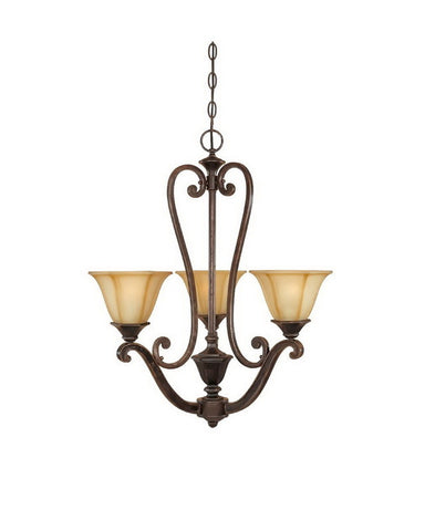Designers Fountain Lighting 81183 IW Olympia Collection Three Light Hanging Chandelier in Imperial Walnut Finish - Quality Discount Lighting