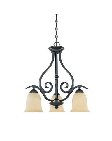 Designers Fountain Lighting 81783 BNB Montague Collection Three Light Hanging Chandelier in Burnished Bronze Finish - Quality Discount Lighting