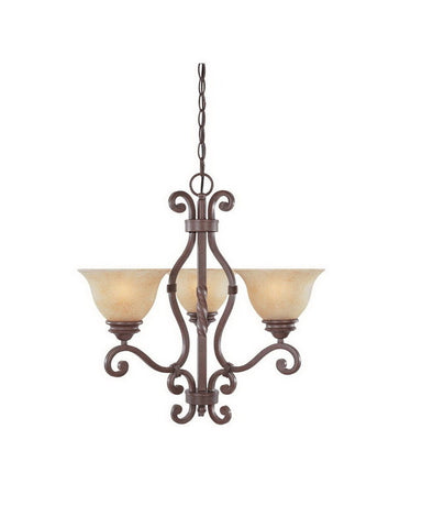 Designers Fountain Lighting 97783 WP Del Mar Collection Three Light Bowl Hanging Chandelier in Warm Pecan Finish - Quality Discount Lighting