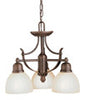 Kichler Lighting 4522 OB 3 light chandelier olde bronze finish and umber glass shade etched - Lighting One 4522OB - Quality Discount Lighting