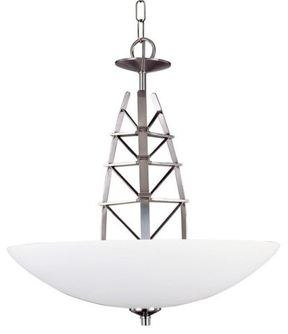Forecast Lighting F1461-36 Delineation Collection Three Light Pendant Chandelier in Satin Nickel Finish