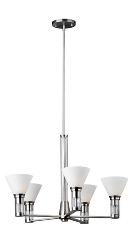 Forecast Lighting F1570-36 Haven Collection Five Light Chandelier in Satin Nickel Finish