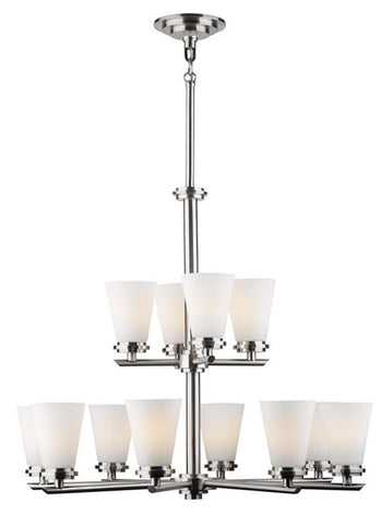 Forecast Lighting F1621-36 Ensemble-Town & Country Collection Chandelier in Satin Nickel Finish