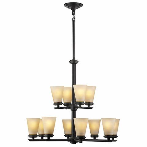 Forecast Lighting F1631-68 EnsembleTown & Country Collection Twelve Light Chandelier in Deep Bronze Finish