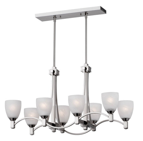 Forecast Lighting F1762-36 Crescendo Collection 8 Light Linear Chandelier in Satin Nickel Finish