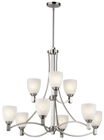 Forecast Lighting F1763-36 Crescendo Collection 9 Light Chandelier in Satin Nickel Finish