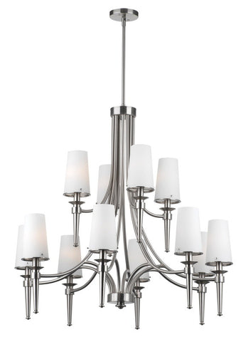 Forecast Lighting F1781-36 Torch Collection 12 Light Chandelier in Satin Nickel Finish