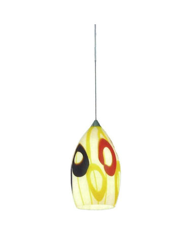 Epiphany Lighting PCP146 BN One Light Mini Pendant in Brushed Nickel Finish and Art Deco Glass