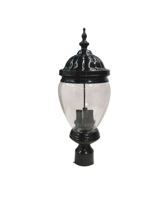 Epiphany Lighting 104976 BK Three Light Cast Aluminum Outdoor Exterior Post Lantern in Black Finish