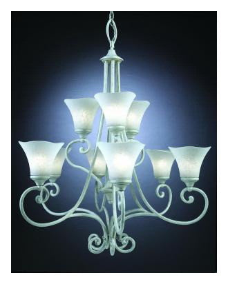 Kichler Lighting 34221 Nine Light Chandelier in Rubbed White Finish - Quality Discount Lighting