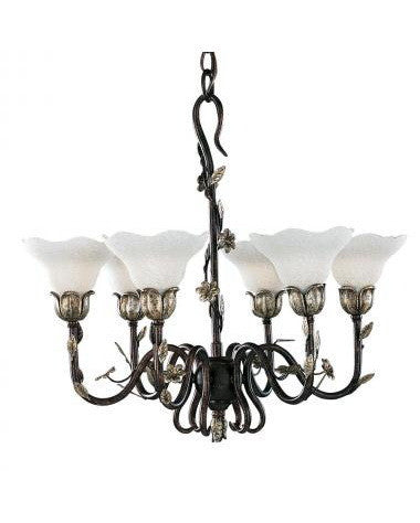 Kichler Lighting 34062 Six Light Chandelier in Wrought Iron Finish with Silver Leaf Accents - Quality Discount Lighting
