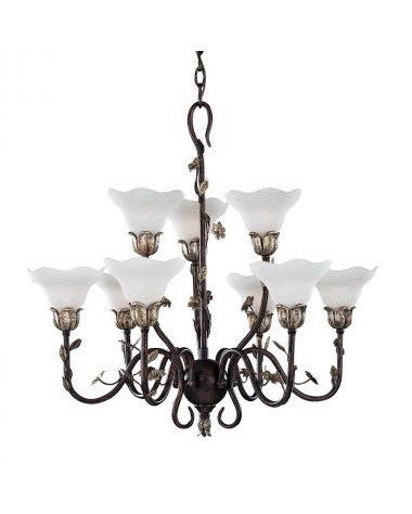 Kichler Lighting 34064 Nine Light Chandelier in Wrought Iron Finish with Silver Leaf Accents - Quality Discount Lighting