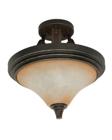 Nuvo Lighting 60-2449 Viceroy Collection Two Light Energy Efficient Fluorescent Ceiling Semi Flush Mount in Golden Umber Finish - Quality Discount Lighting