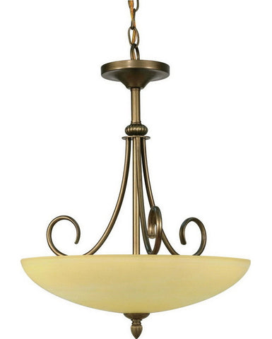 Nuvo Lighting 60-168 Vanguard Collection Three Light Pendant Chandelier in Flemish Gold Finish - Quality Discount Lighting