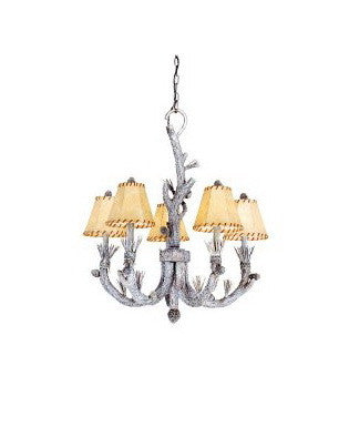 Vaxcel Lighting AS-CHS005 SW Five Light Aspen Collection Chandelier in Snow Finish