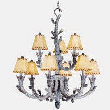 Vaxcel Lighting AS-CHS009 SW Nine Light Aspen Collection Chandelier in Snow Finish