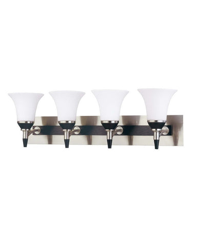 Nuvo Lighting 60-2467 Keen Collection Four Light Energy Star Efficient Fluorescent GU24 Bath Vanity Wall Mount in Brushed Nickel Finish - Quality Discount Lighting