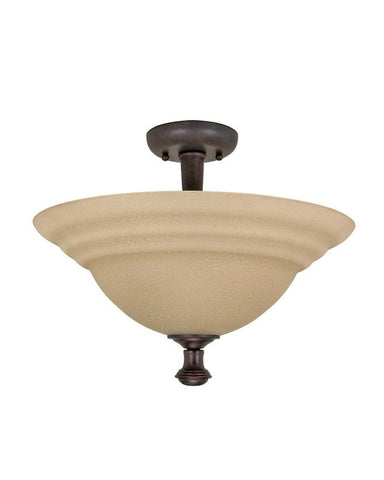 Nuvo Lighting 60-2417 Mericana Collection Two Light Energy Star Efficient Fluorescent GU24 Semi Flush Ceiling Mount in Old Bronze Finish - Quality Discount Lighting