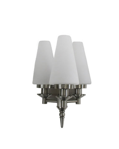 Forecast Lighting F1592-36 Mini Classic Collection Three Light Wall Sconce in Satin Nickel Finish