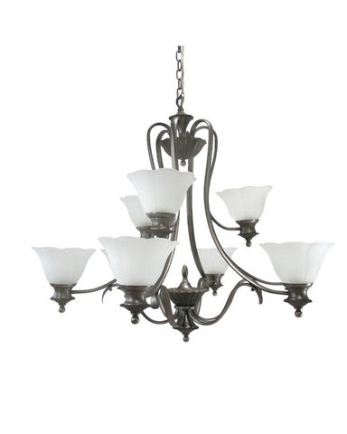 Kichler Lighting S1717 TGP Nine Light Hanging Chandelier in Antique Pewter Tuscan Gold Finish - Quality Discount Lighting